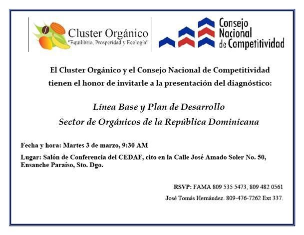 Línea base y plan de desarrollo del sector orgánicos de la República Dominicana¨