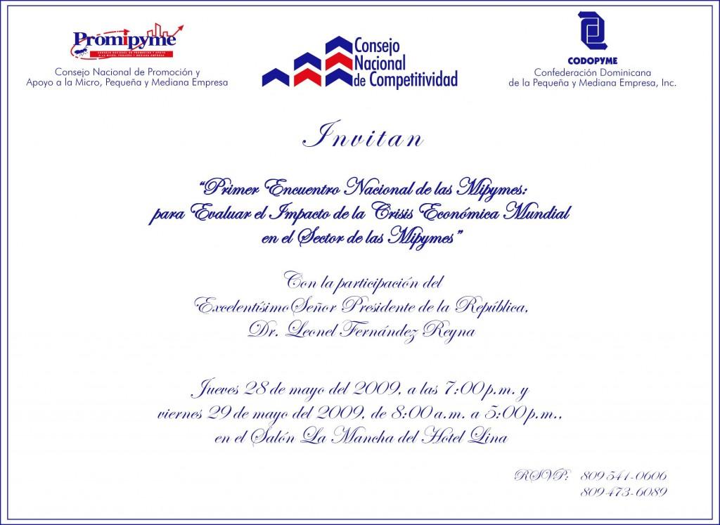 CODOPYME Invitacion Encuentro Nacional de las Mipymes 1