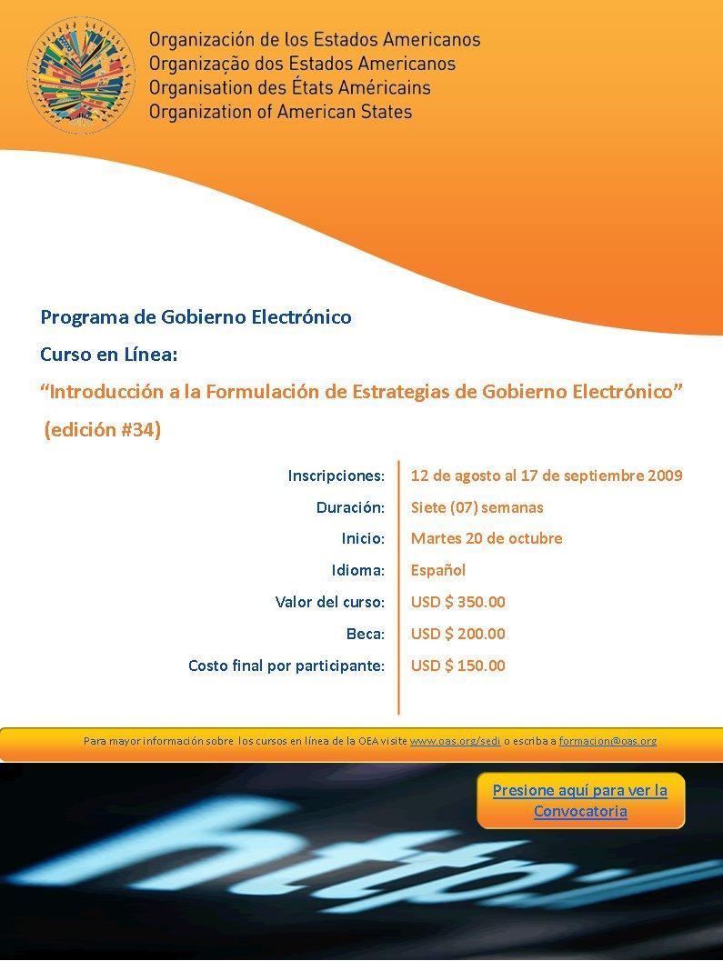 Curso en línea - Introducción a la formulación de estrategias de Gobierno electrónico